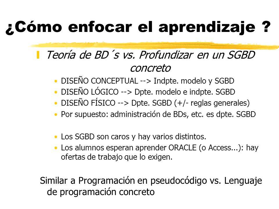 ¿Cómo enfocar el aprendizaje ? yTeoría de BD´s vs. Profundizar en un SGBD concreto DISEÑO CONCEPTUAL --> Indpte. modelo y SGBD DISEÑO LÓGICO --> Dpte.