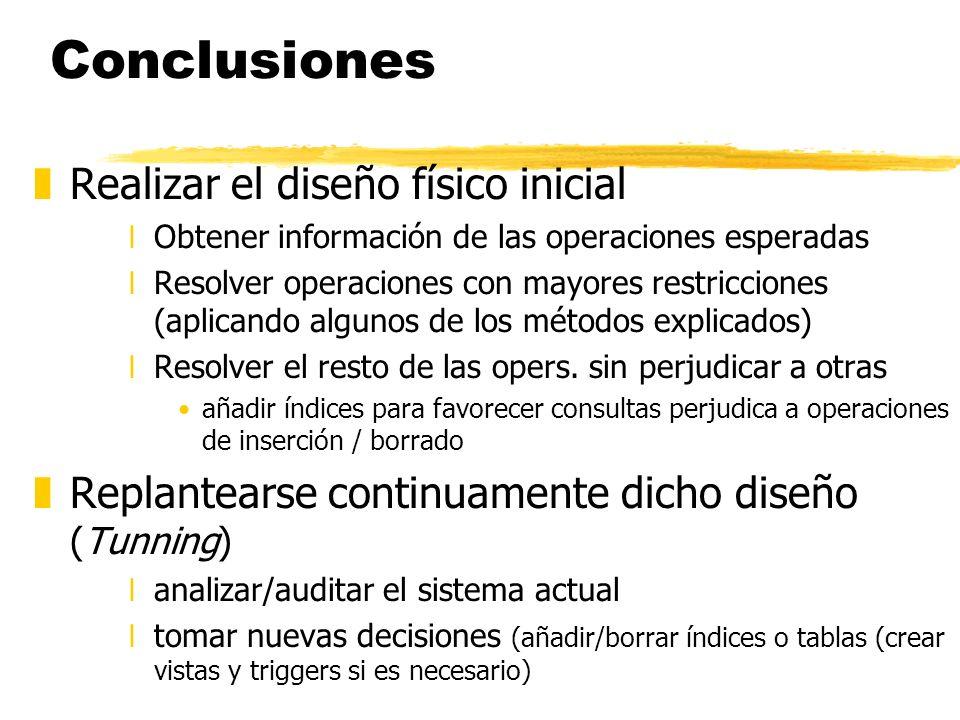 Conclusiones zRealizar el diseño físico inicial xObtener información de las operaciones esperadas xResolver operaciones con mayores restricciones (apl