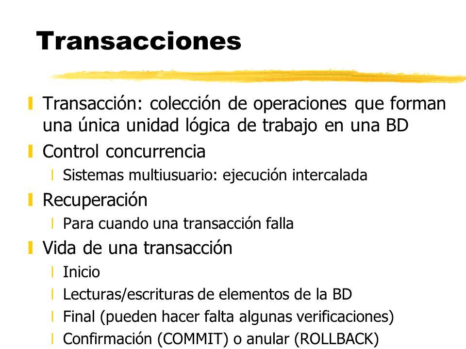 Transacciones yTransacción: colección de operaciones que forman una única unidad lógica de trabajo en una BD yControl concurrencia xSistemas multiusua