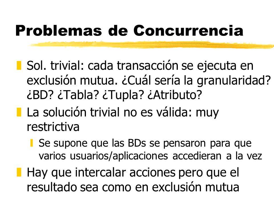 Problemas de Concurrencia zSol. trivial: cada transacción se ejecuta en exclusión mutua. ¿Cuál sería la granularidad? ¿BD? ¿Tabla? ¿Tupla? ¿Atributo?