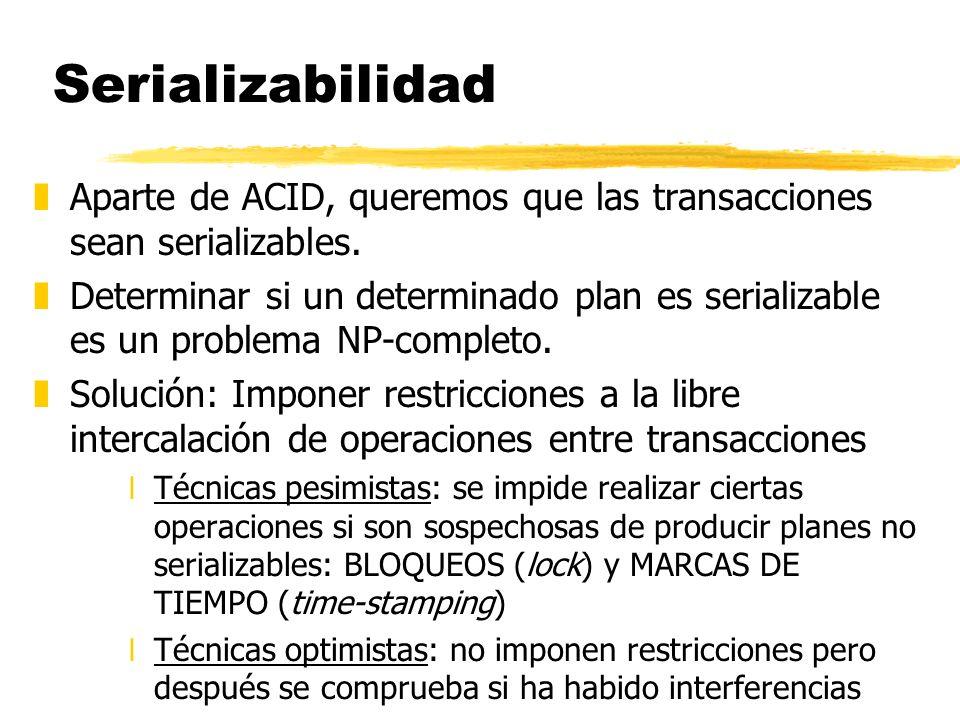 Serializabilidad zAparte de ACID, queremos que las transacciones sean serializables. zDeterminar si un determinado plan es serializable es un problema