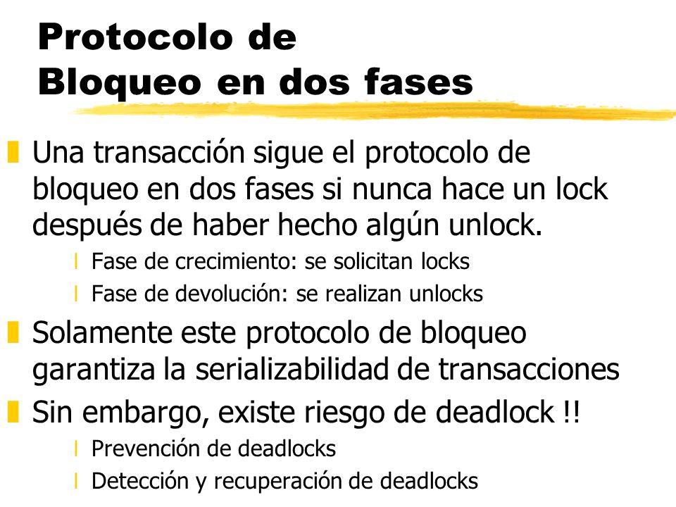 Protocolo de Bloqueo en dos fases zUna transacción sigue el protocolo de bloqueo en dos fases si nunca hace un lock después de haber hecho algún unloc