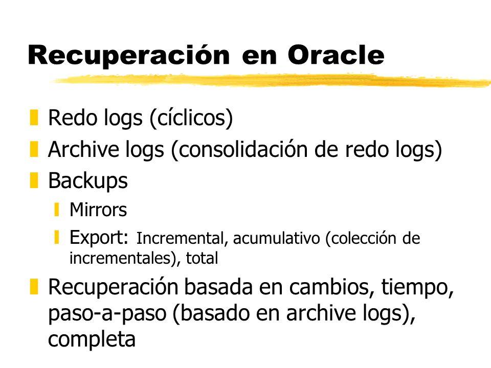 Recuperación en Oracle zRedo logs (cíclicos) zArchive logs (consolidación de redo logs) zBackups yMirrors yExport: Incremental, acumulativo (colección