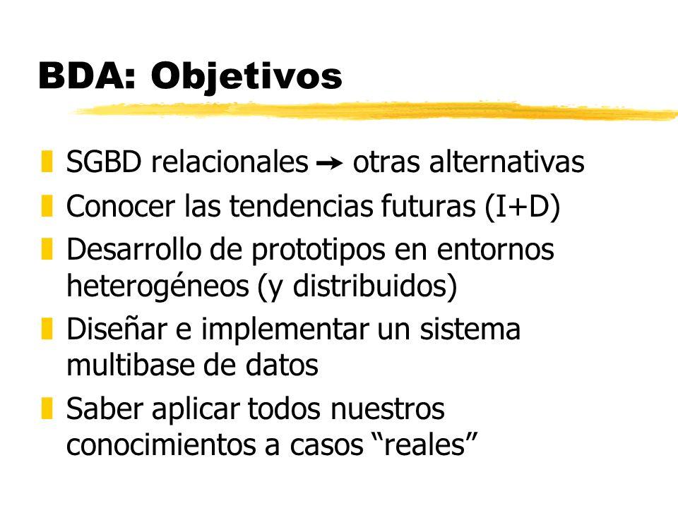 BDA: Objetivos zSGBD relacionales otras alternativas zConocer las tendencias futuras (I+D) zDesarrollo de prototipos en entornos heterogéneos (y distr