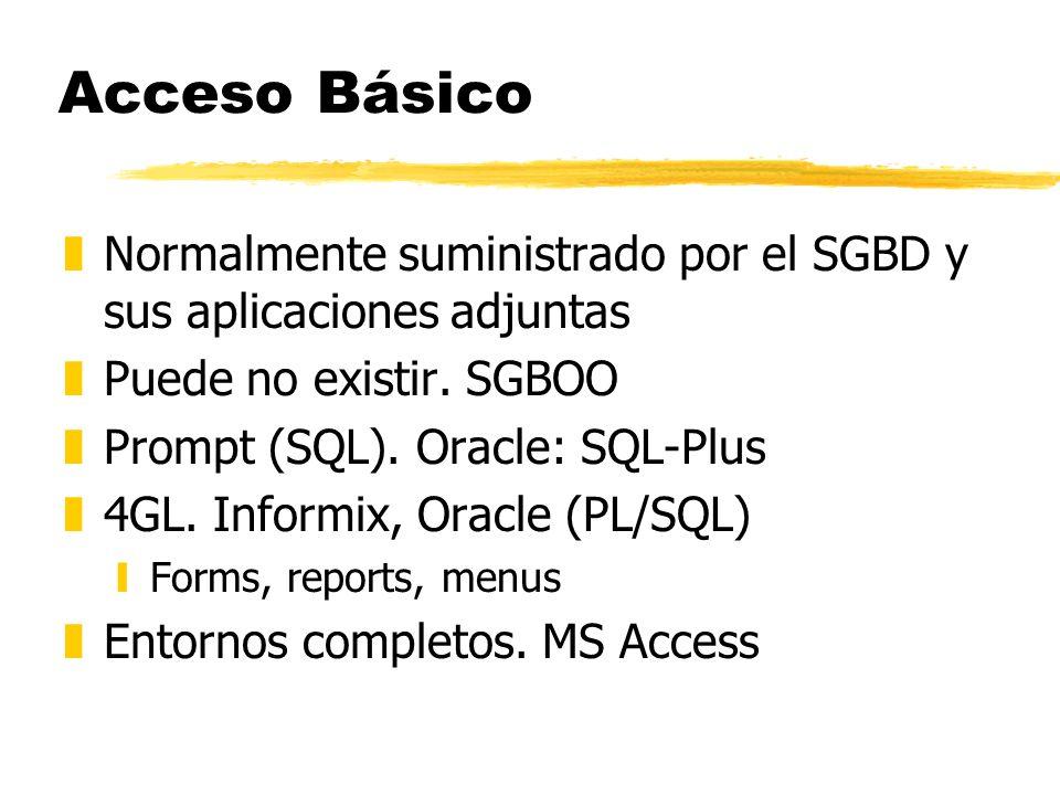 Acceso Básico zNormalmente suministrado por el SGBD y sus aplicaciones adjuntas zPuede no existir. SGBOO zPrompt (SQL). Oracle: SQL-Plus z4GL. Informi