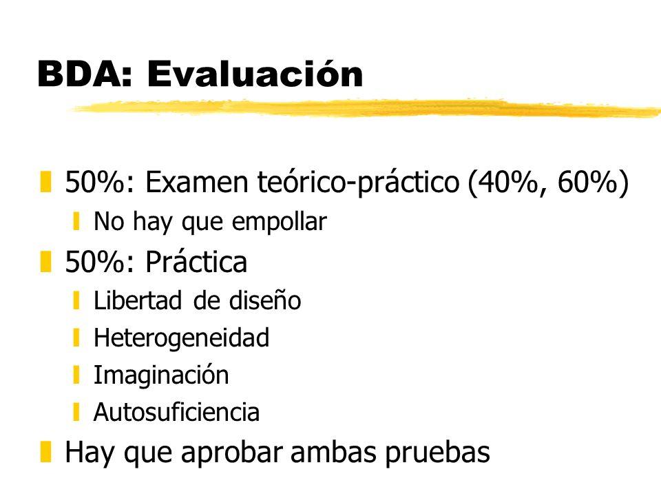BDA: Evaluación z50%: Examen teórico-práctico (40%, 60%) yNo hay que empollar z50%: Práctica yLibertad de diseño yHeterogeneidad yImaginación yAutosuf