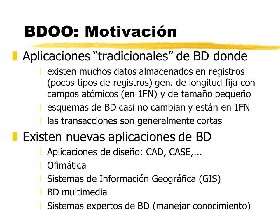 BDOO: Motivación zAplicaciones tradicionales de BD donde xexisten muchos datos almacenados en registros (pocos tipos de registros) gen. de longitud fi