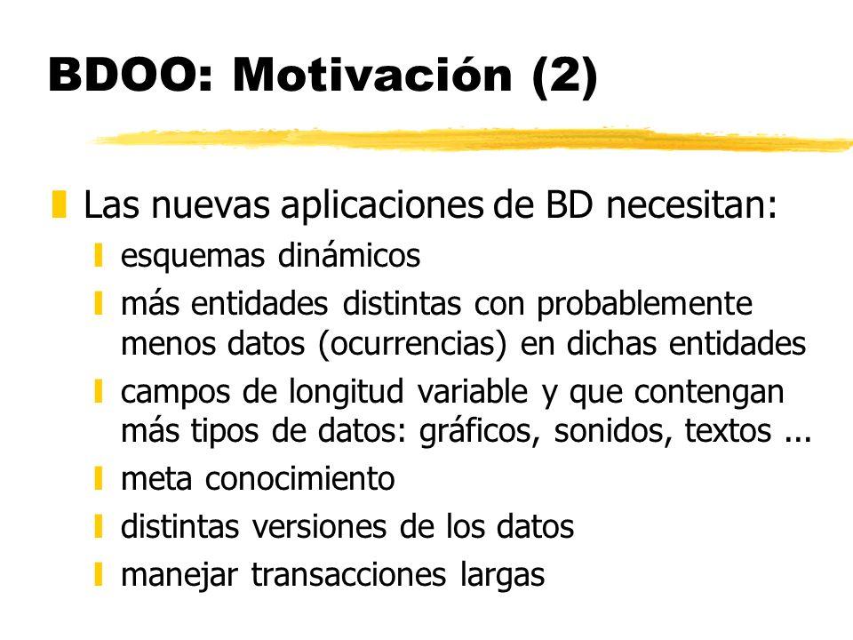 BDOO: Motivación (2) zLas nuevas aplicaciones de BD necesitan: yesquemas dinámicos ymás entidades distintas con probablemente menos datos (ocurrencias