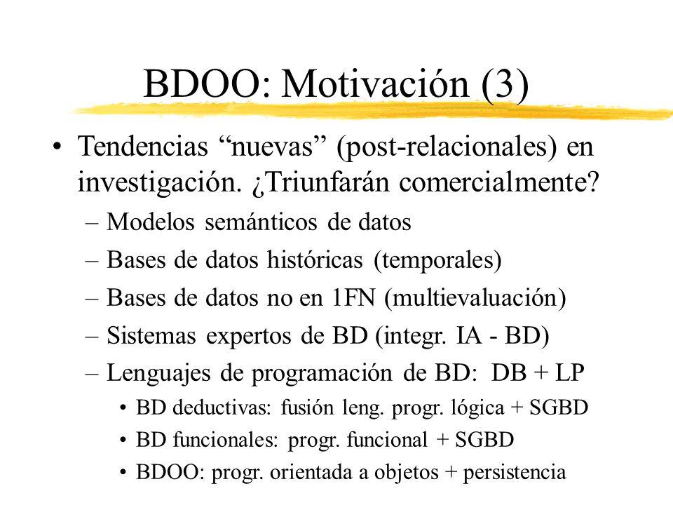 BDOO: Motivación (3) Tendencias nuevas (post-relacionales) en investigación. ¿Triunfarán comercialmente? –Modelos semánticos de datos –Bases de datos
