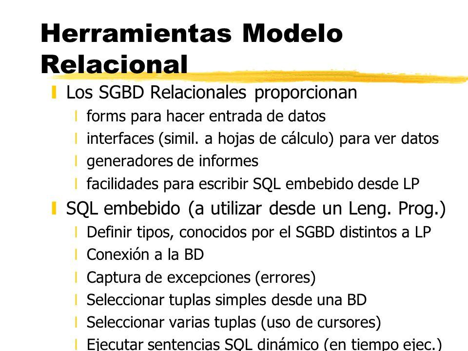 Herramientas Modelo Relacional yLos SGBD Relacionales proporcionan xforms para hacer entrada de datos xinterfaces (simil. a hojas de cálculo) para ver