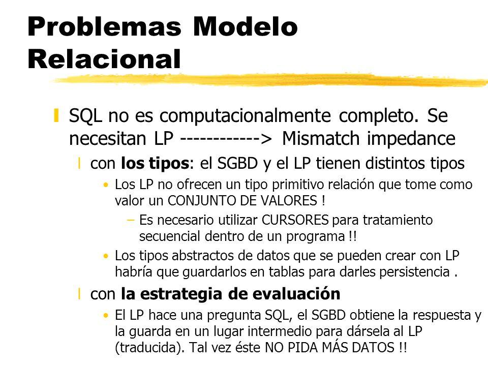 Problemas Modelo Relacional ySQL no es computacionalmente completo. Se necesitan LP ------------> Mismatch impedance xcon los tipos: el SGBD y el LP t