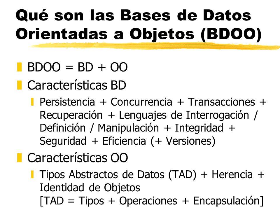 Qué son las Bases de Datos Orientadas a Objetos (BDOO) zBDOO = BD + OO zCaracterísticas BD yPersistencia + Concurrencia + Transacciones + Recuperación
