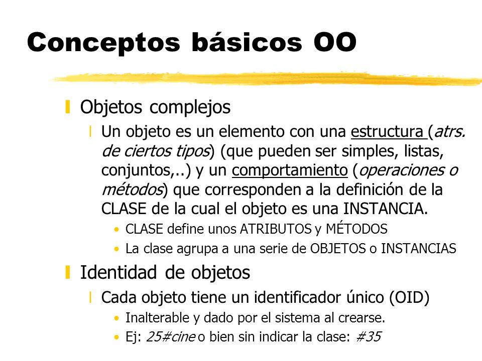 Conceptos básicos OO yObjetos complejos xUn objeto es un elemento con una estructura (atrs. de ciertos tipos) (que pueden ser simples, listas, conjunt