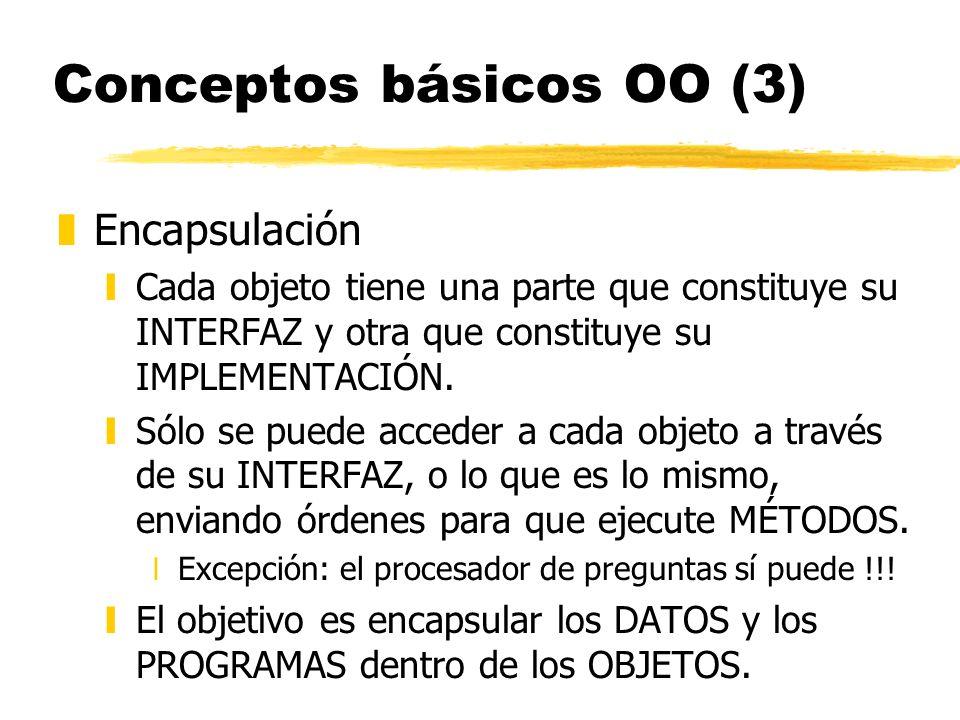 Conceptos básicos OO (3) zEncapsulación yCada objeto tiene una parte que constituye su INTERFAZ y otra que constituye su IMPLEMENTACIÓN. ySólo se pued