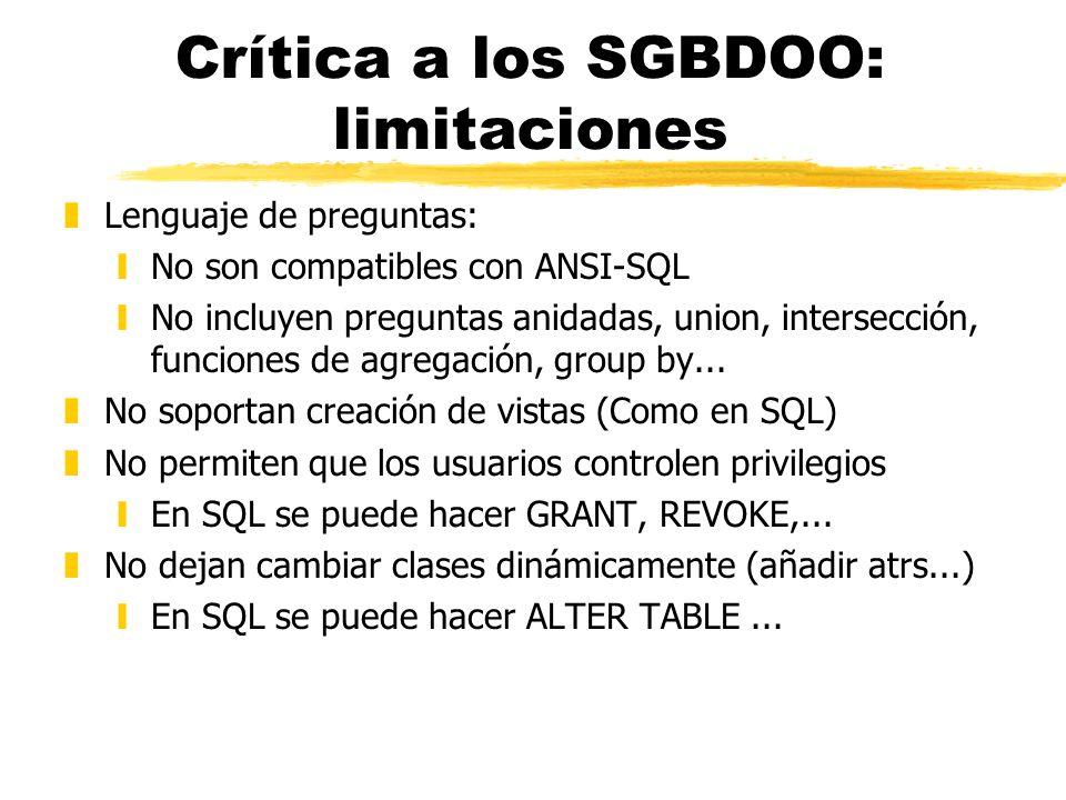 Crítica a los SGBDOO: limitaciones zLenguaje de preguntas: yNo son compatibles con ANSI-SQL yNo incluyen preguntas anidadas, union, intersección, func