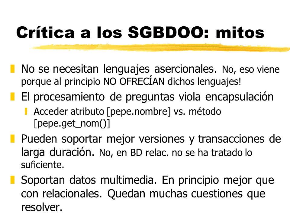 Crítica a los SGBDOO: mitos zNo se necesitan lenguajes asercionales. No, eso viene porque al principio NO OFRECÍAN dichos lenguajes! zEl procesamiento