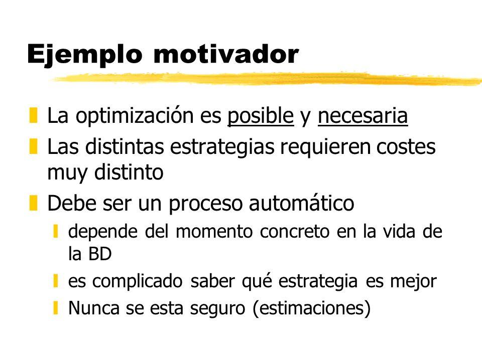 Ejemplo motivador zLa optimización es posible y necesaria zLas distintas estrategias requieren costes muy distinto zDebe ser un proceso automático yde