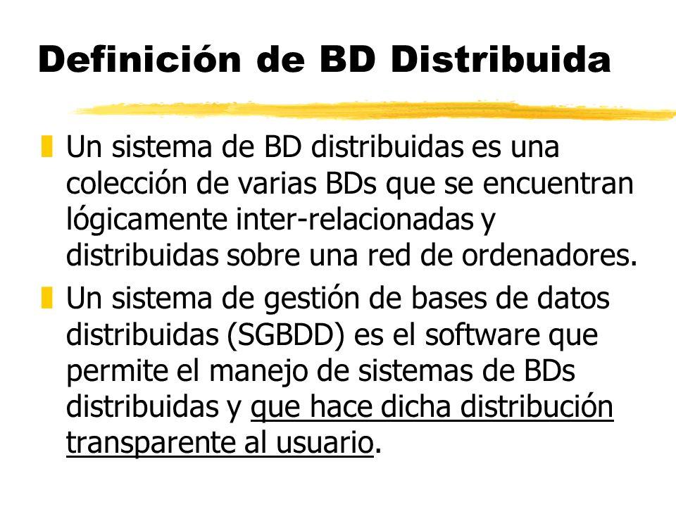 Definición de BD Distribuida zUn sistema de BD distribuidas es una colección de varias BDs que se encuentran lógicamente inter-relacionadas y distribu