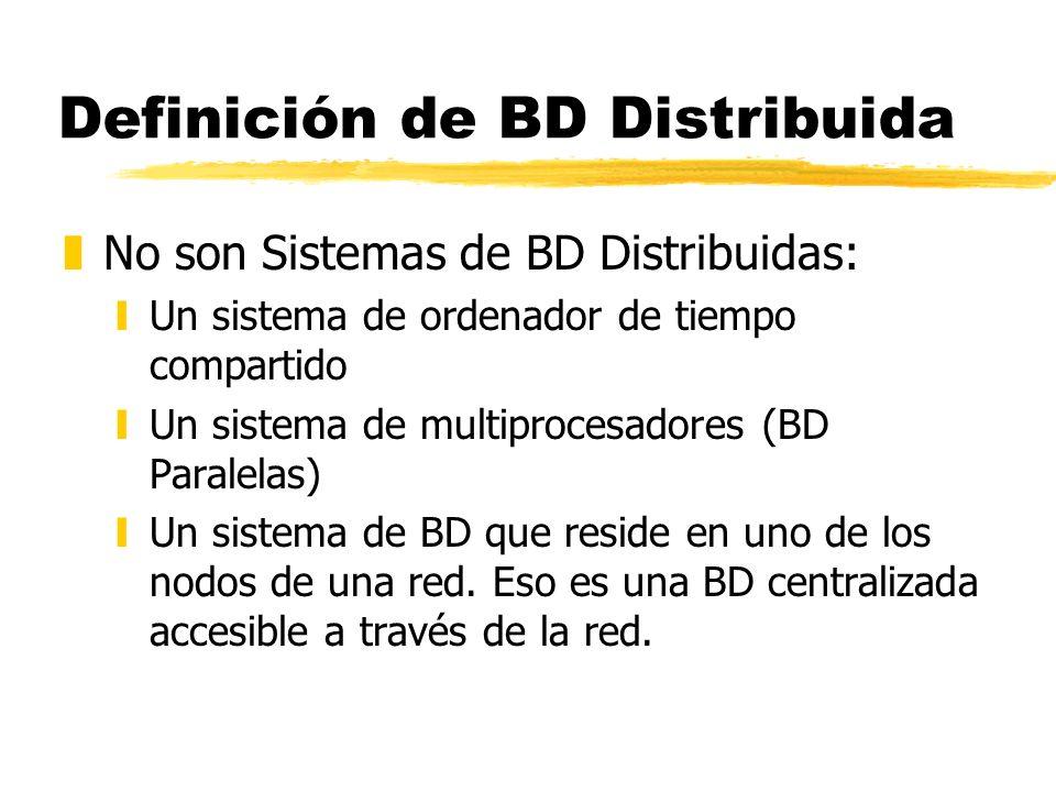 Definición de BD Distribuida zNo son Sistemas de BD Distribuidas: yUn sistema de ordenador de tiempo compartido yUn sistema de multiprocesadores (BD P