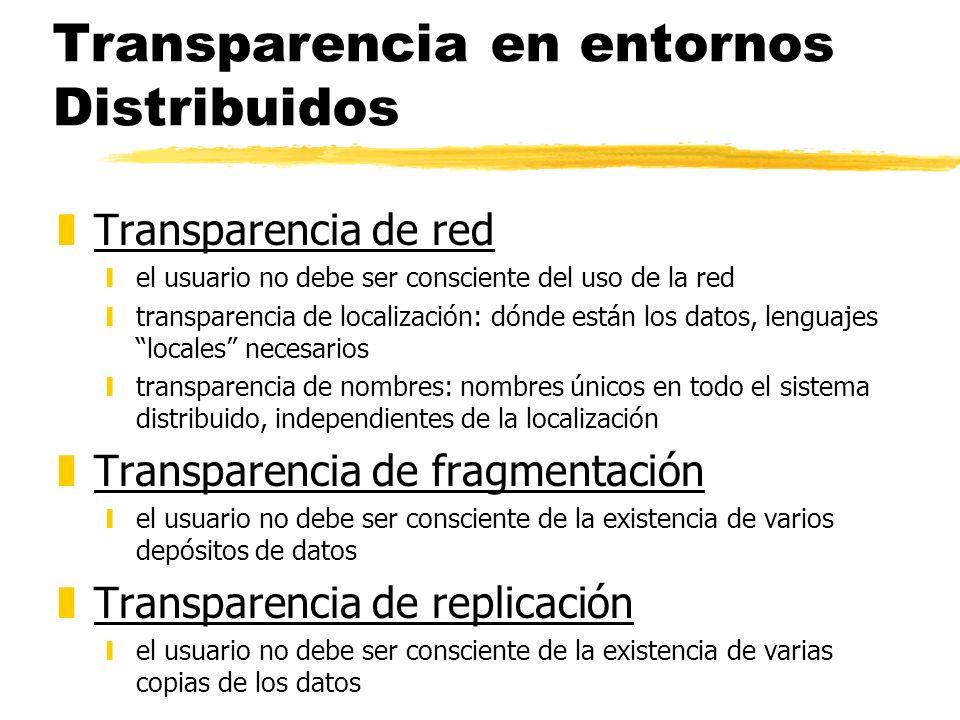 Transparencia en entornos Distribuidos zTransparencia de red yel usuario no debe ser consciente del uso de la red ytransparencia de localización: dónd