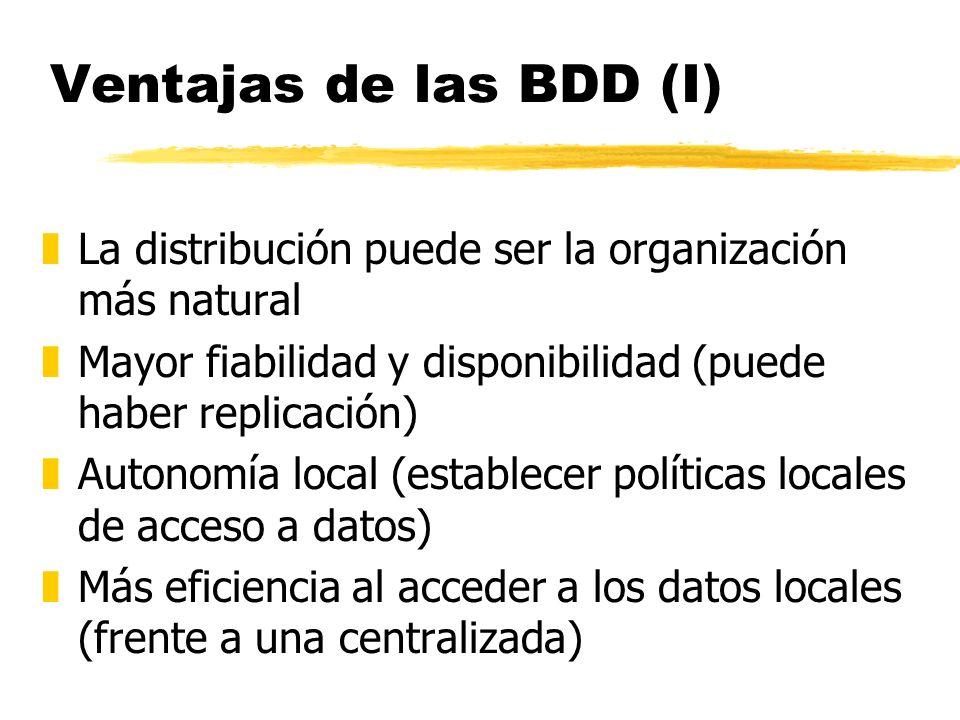 Ventajas de las BDD (I) zLa distribución puede ser la organización más natural zMayor fiabilidad y disponibilidad (puede haber replicación) zAutonomía