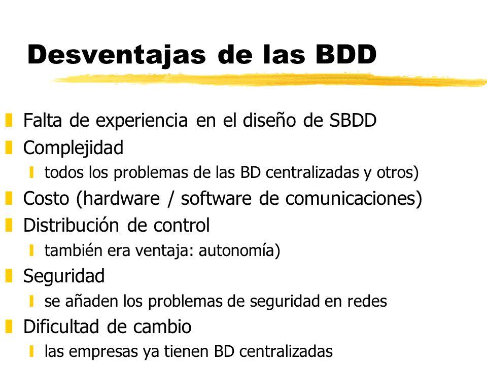 Desventajas de las BDD zFalta de experiencia en el diseño de SBDD zComplejidad ytodos los problemas de las BD centralizadas y otros) zCosto (hardware