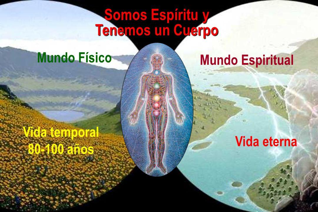 Somos Espíritu y Tenemos un Cuerpo Mundo Físico Mundo Espiritual Vida temporal 80-100 años Vida eterna