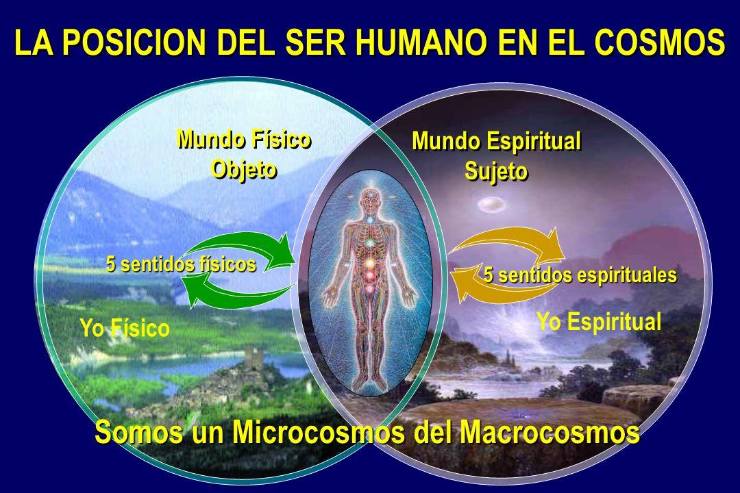 LA POSICION DEL SER HUMANO EN EL COSMOS Mundo Físico Objeto Mundo Espiritual Sujeto Yo Espiritual Yo Físico Somos un Microcosmos del Macrocosmos 5 sentidos espirituales 5 sentidos físicos
