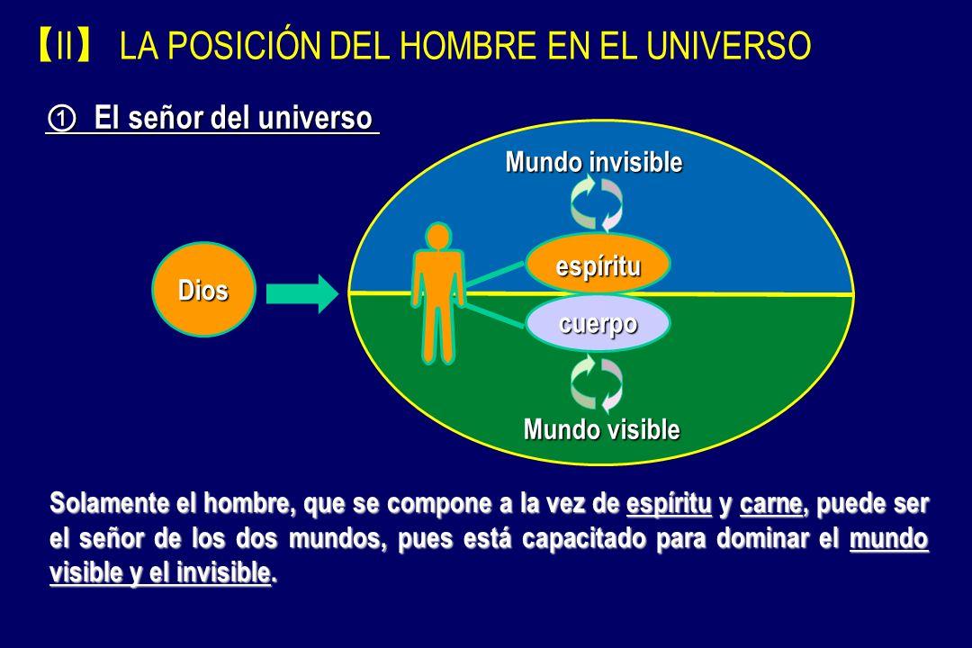 II LA POSICIÓN DEL HOMBRE EN EL UNIVERSO cuerpo espíritu Mundo visible Mundo invisible El señor del universo El señor del universo Dios Primero, Dios