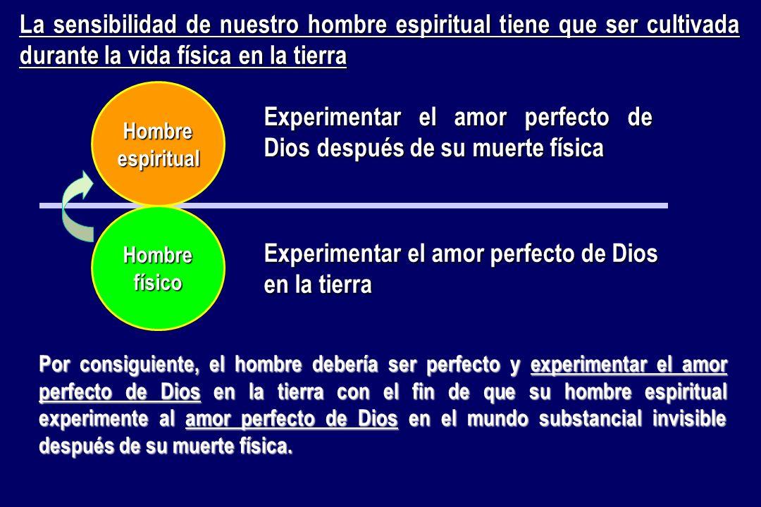 La sensibilidad de nuestro hombre espiritual tiene que ser cultivada durante la vida física en la tierra Hombrefísico Hombreespiritual Experimentar el