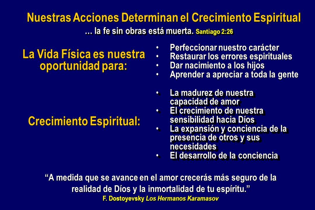 … la fe sin obras está muerta. Santiago 2:26 Nuestras Acciones Determinan el Crecimiento Espiritual Crecimiento Espiritual: La madurez de nuestra capa