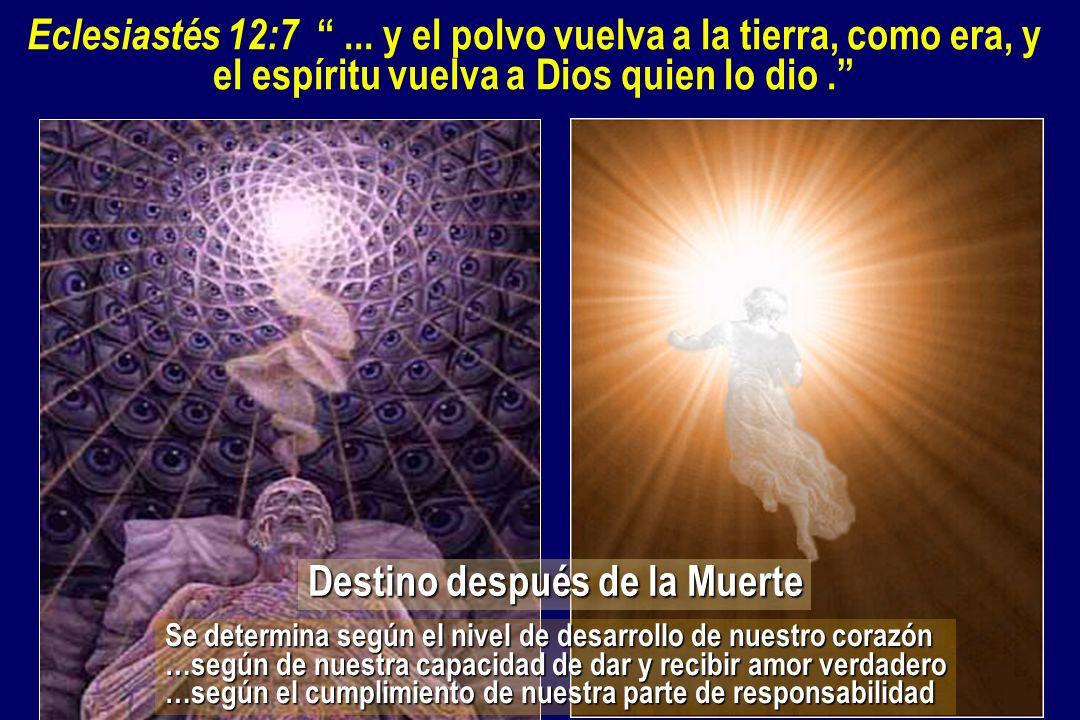 Eclesiastés 12:7... y el polvo vuelva a la tierra, como era, y el espíritu vuelva a Dios quien lo dio. Destino después de la Muerte Se determina según