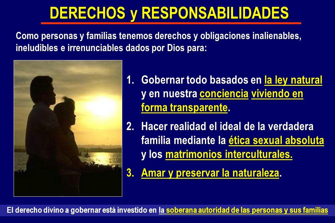1.Gobernar todo basados en la ley natural y en nuestra conciencia viviendo en forma transparente. 2.Hacer realidad el ideal de la verdadera familia me