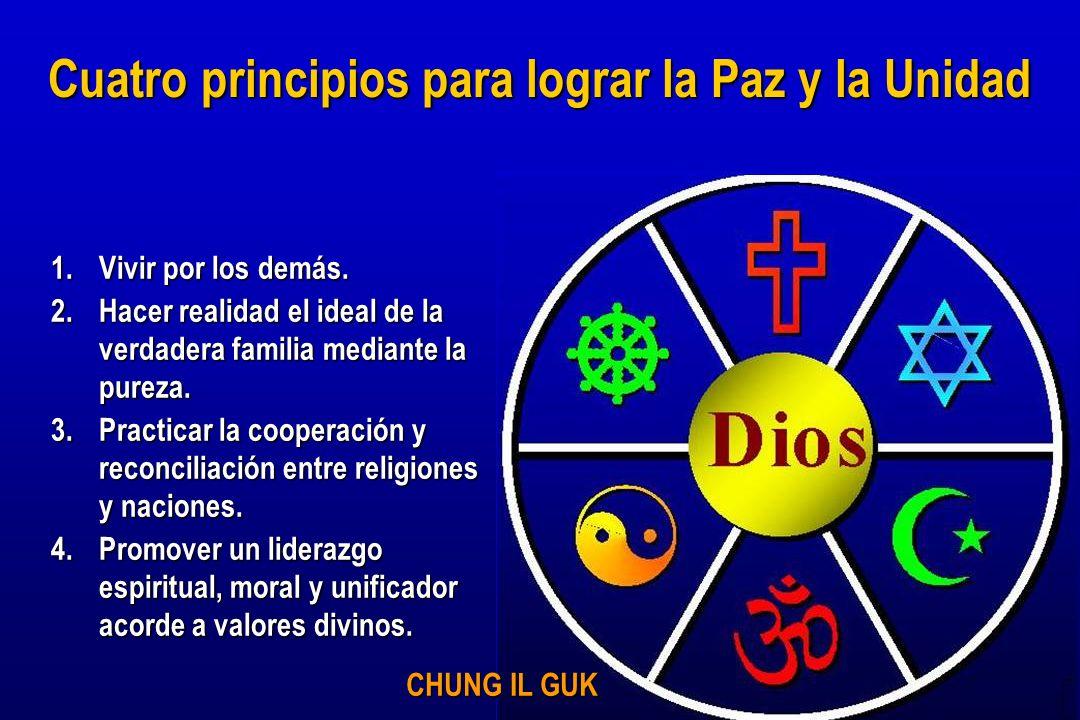 1.Vivir por los demás. 2.Hacer realidad el ideal de la verdadera familia mediante la pureza. 3.Practicar la cooperación y reconciliación entre religio