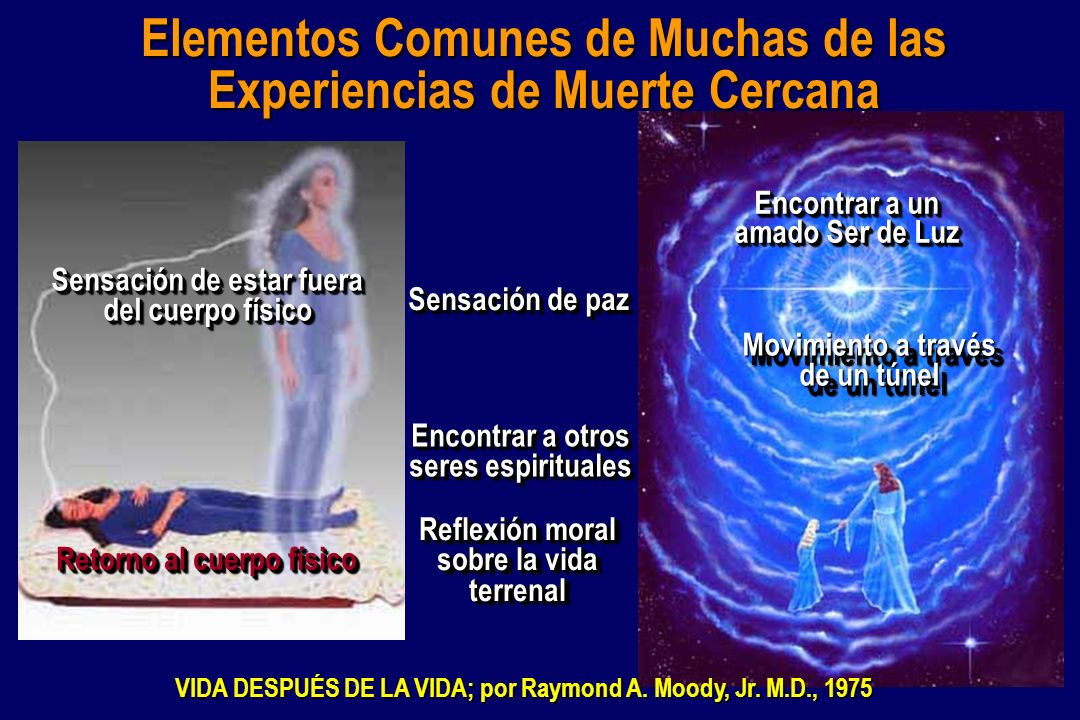Elementos Comunes de Muchas de las Experiencias de Muerte Cercana Sensación de paz Movimiento a través de un túnel Sensación de estar fuera del cuerpo