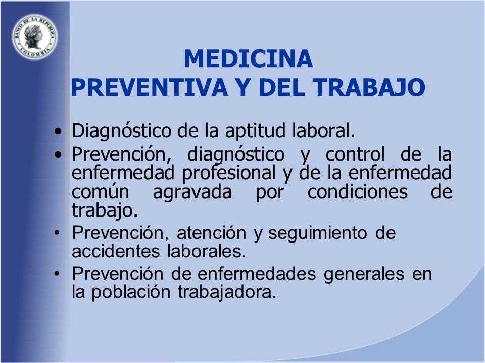MEDICINA PREVENTIVA Y DEL TRABAJO Diagnóstico de la aptitud laboral.