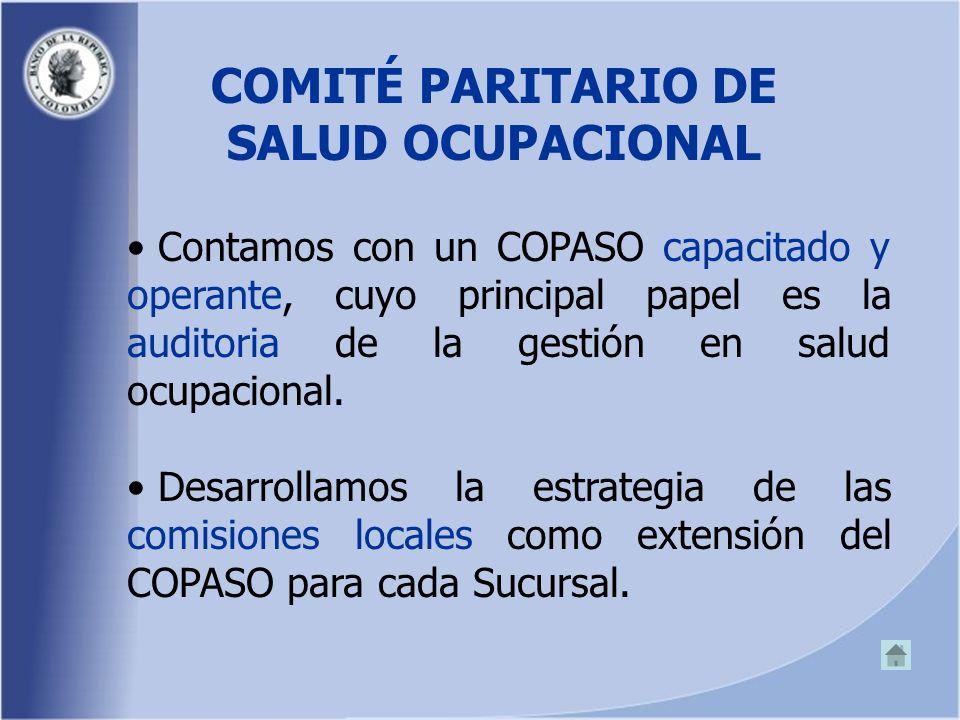 COMITÉ PARITARIO DE SALUD OCUPACIONAL Contamos con un COPASO capacitado y operante, cuyo principal papel es la auditoria de la gestión en salud ocupacional.