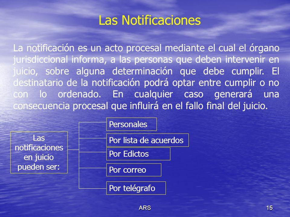 ARS15 Las Notificaciones La notificación es un acto procesal mediante el cual el órgano jurisdiccional informa, a las personas que deben intervenir en