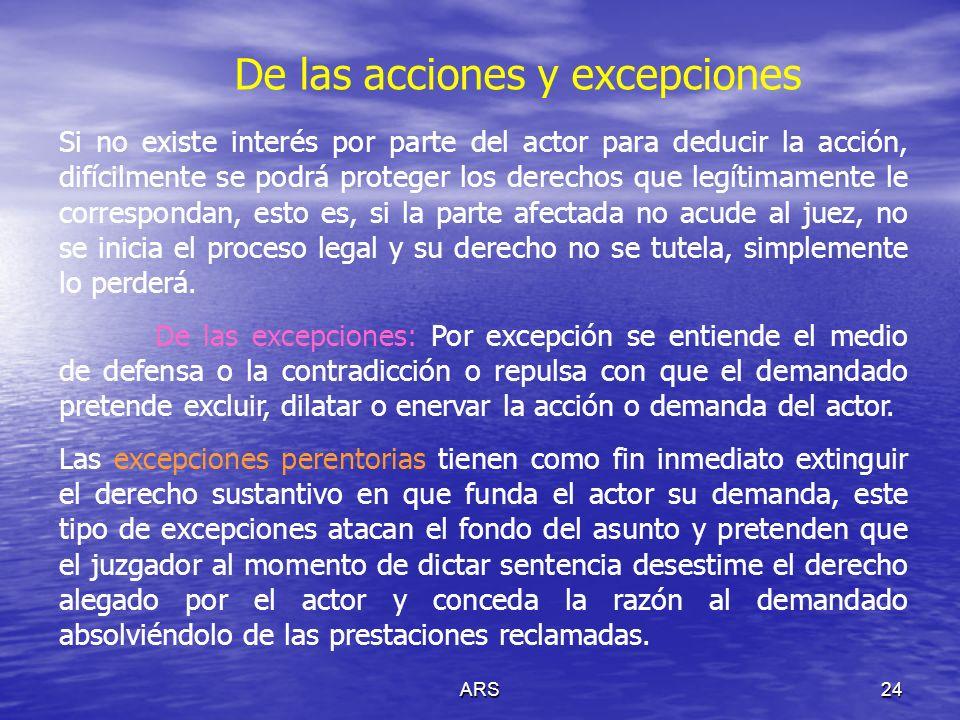 ARS24 De las acciones y excepciones Si no existe interés por parte del actor para deducir la acción, difícilmente se podrá proteger los derechos que l