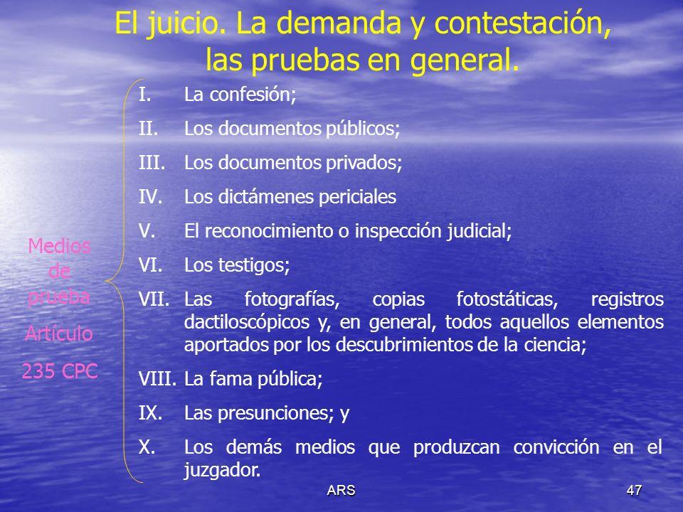 ARS47 El juicio. La demanda y contestación, las pruebas en general. I.La confesión; II.Los documentos públicos; III.Los documentos privados; IV.Los di