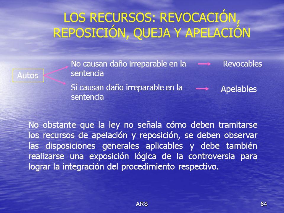 ARS64 LOS RECURSOS: REVOCACIÓN, REPOSICIÓN, QUEJA Y APELACIÓN Autos No causan daño irreparable en la sentencia Sí causan daño irreparable en la senten
