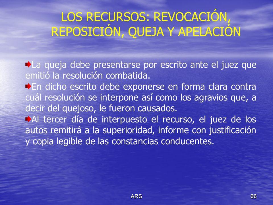 ARS66 LOS RECURSOS: REVOCACIÓN, REPOSICIÓN, QUEJA Y APELACIÓN La queja debe presentarse por escrito ante el juez que emitió la resolución combatida. E