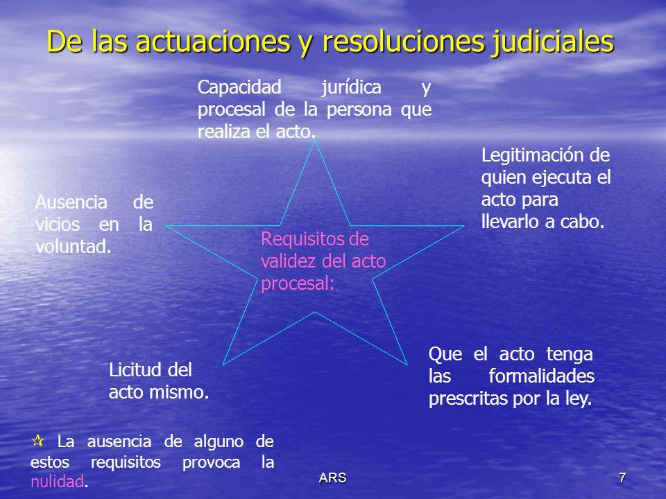 ARS7 De las actuaciones y resoluciones judiciales Requisitos de validez del acto procesal: Capacidad jurídica y procesal de la persona que realiza el