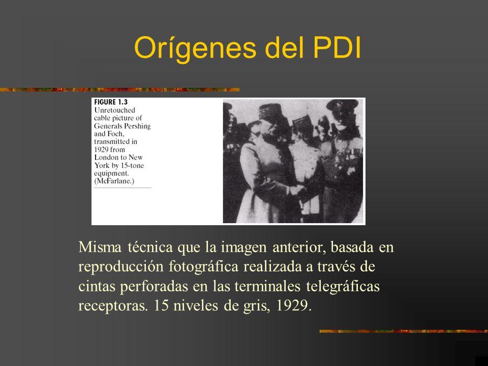Orígenes del PDI Misma técnica que la imagen anterior, basada en reproducción fotográfica realizada a través de cintas perforadas en las terminales te
