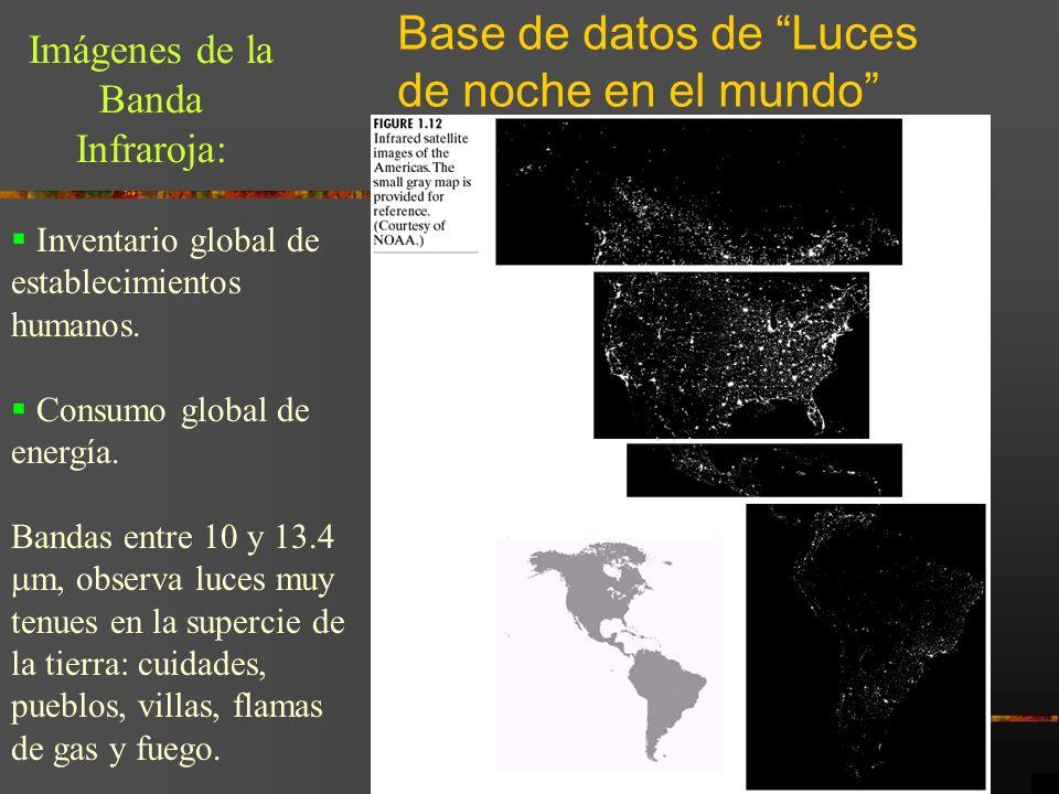 Base de datos de Luces de noche en el mundo Imágenes de la Banda Infraroja: Inventario global de establecimientos humanos. Consumo global de energía.