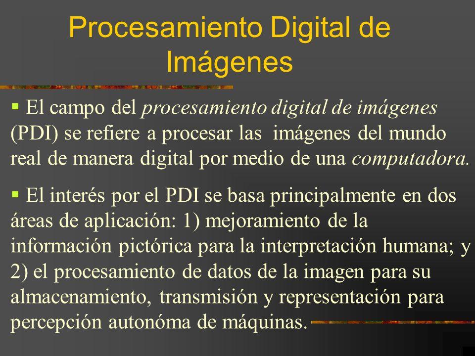 El campo del procesamiento digital de imágenes (PDI) se refiere a procesar las imágenes del mundo real de manera digital por medio de una computadora.
