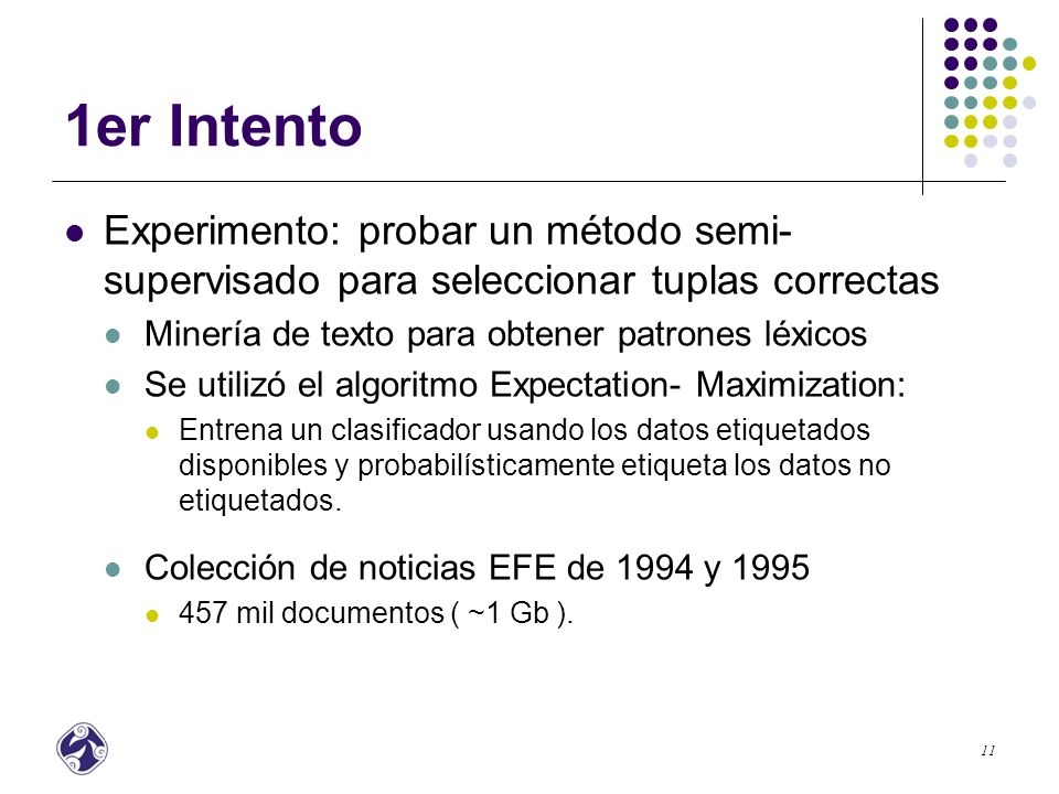 12 Resultados Preliminares NoPatrón LéxicoNoPatrón Léxico 1.