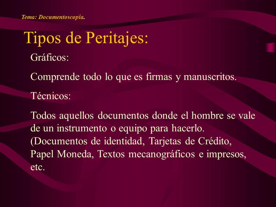 Tema: Documentoscopía. Tipos de Peritajes: Gráficos: Comprende todo lo que es firmas y manuscritos.