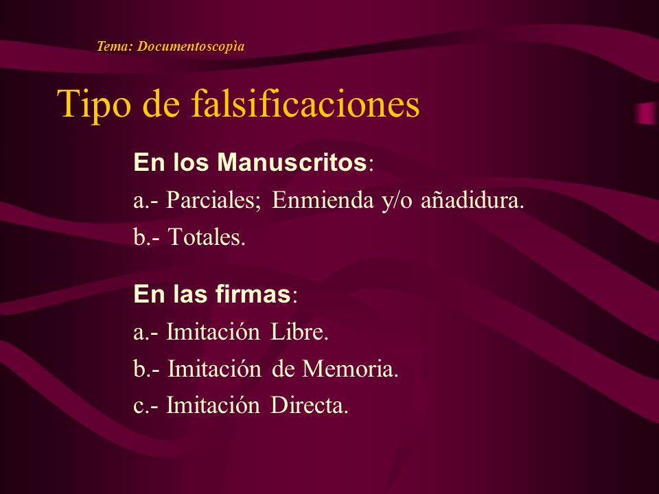 Tipo de falsificaciones En los Manuscritos : a.- Parciales; Enmienda y/o añadidura.