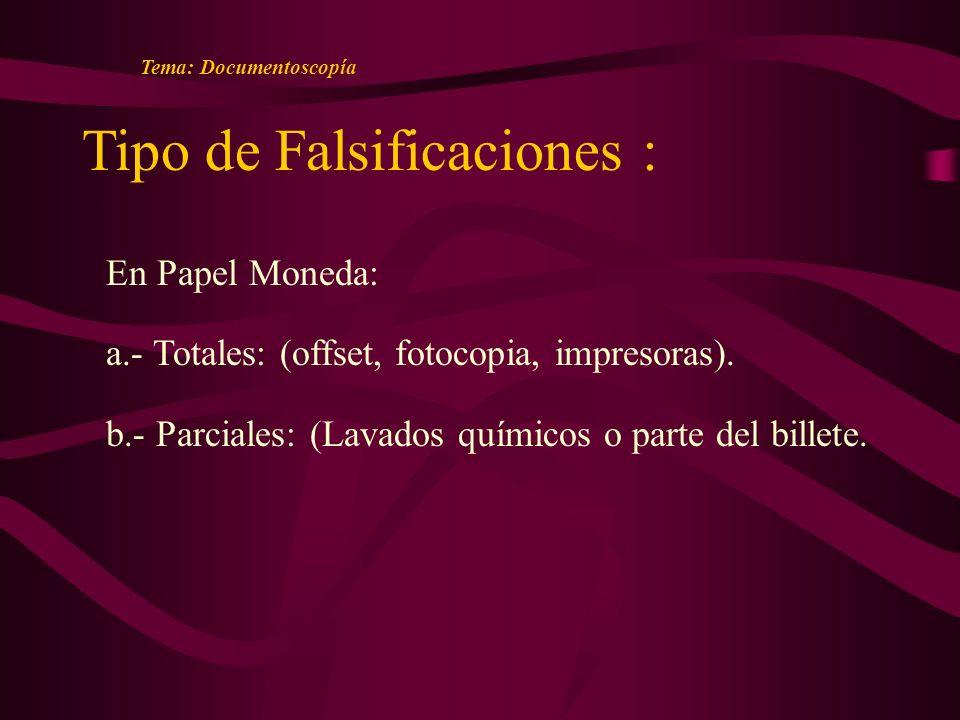 Tipo de Falsificaciones : En Papel Moneda: a.- Totales: (offset, fotocopia, impresoras).